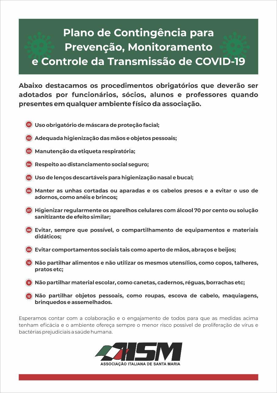 Plano de contingência para prevenção, monitoramento e controle da transmissão de covid-19.